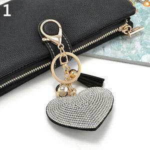 Rhinestone handbag keychain charm silver & black